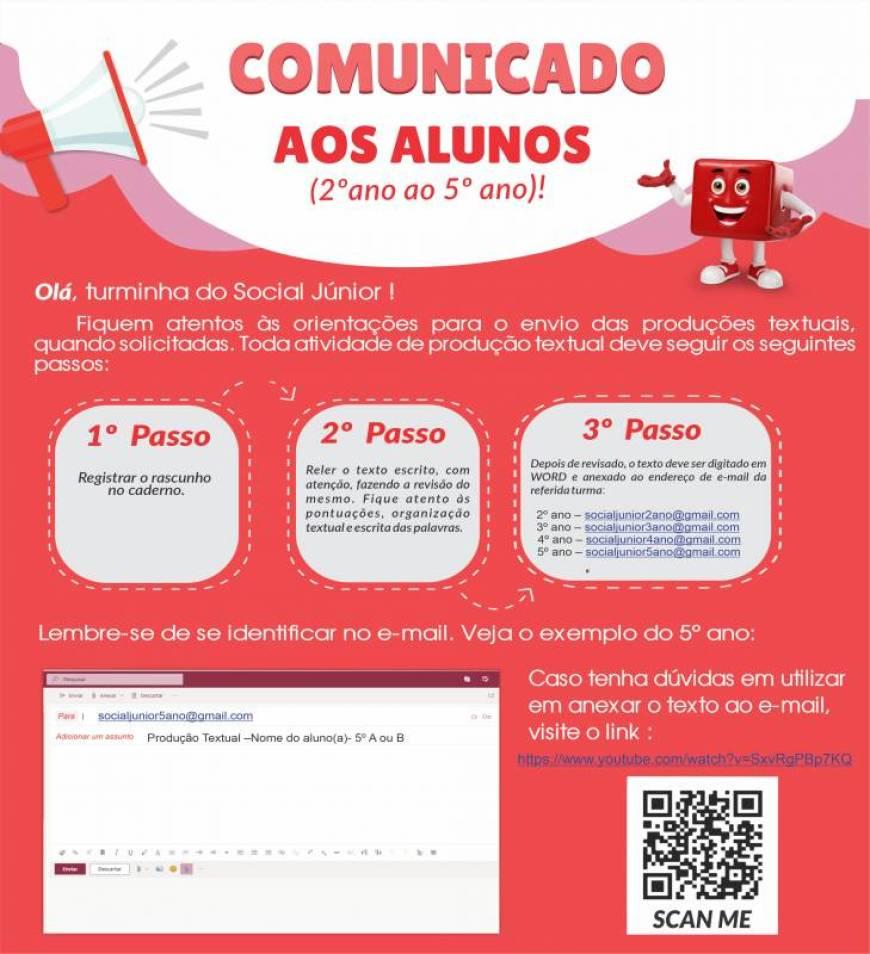 COMUNICADO AO ALUNOS (2º AO 5º ANO)
